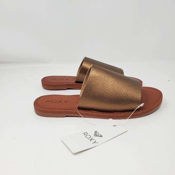 Brand new Roxy metallic slide sandal Women's size